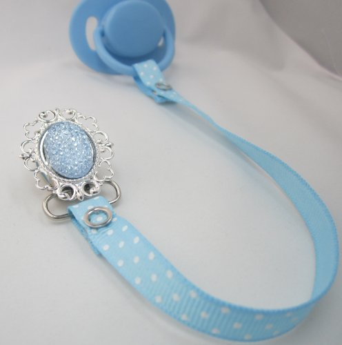Sparkly Elegant Light Blue Ribbon Pacifier holder (RSB)