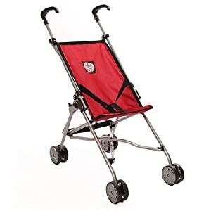 The New York Doll Collection Umbrella Doll Stroller, Red
