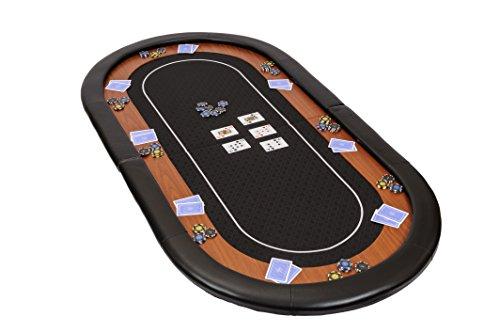 """Dessus de table de poker pliable """"Champion"""" en tissu """"speed"""" noir et repose-bras en faux cuir 180 cm"""