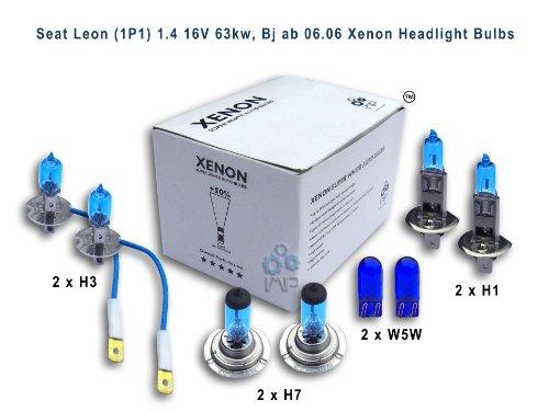 Seat-Leon-14-16-V-63kw-1P1-ab-Bj-0606-Xenon-Scheinwerfer-Glhlampe-H1-H3-H7-W5W