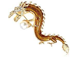 Swarovski Crystal Elements Majestic Serpent Dragon Holding Faux Pearl Pin Brooch