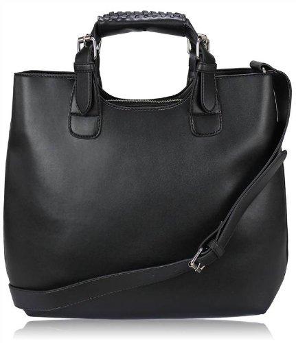 Ladies Womens Vintage Celebrity Tote Designer Shopper Handbag Shoulder Satchel Bag Black