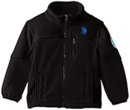 U.S. Polo Association Little Boys\' Polar Fleece Jacket with Dewspo Trim, Black/Black, 7