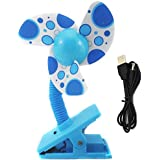 Eforstore Baby Clip-on Mini Stroller Fan Cute Crib Cooling Fans (Blue With USB Cable)