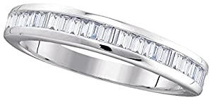 10kt White Gold Womens Baguette Natural Diamond Band Wedding Anniversary Ring (.50 cttw.)