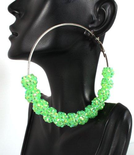 Basketball Wives Green Shamballah 3 Inch Hoop Earrings with 12 Disco Balls Poparazzi