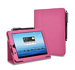 kmbuy - E FUN Nextbook Premium 8HD NX008HD8G Quality Customized PU Leather Folio Stand Protective Case Cover Skin With Styli For E FUN Nextbook Premium 8HD[June 2013 Wal-Mart Release] (rosy red)