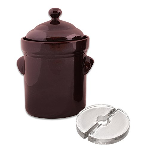 Stone Creek Trading Fermenting Crock 5 Liter with Glass Weights