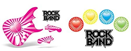 Rock Band Drum, Guitar Skin Combo, Fits Xbox 360 / PS3/2 Rockband - Pink Hearts
