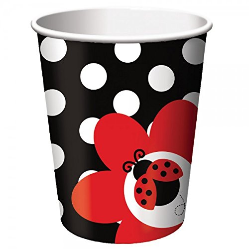 Creative Converting Unisex Adult LadyBug Fancy 9 oz. Paper Cups Black Medium