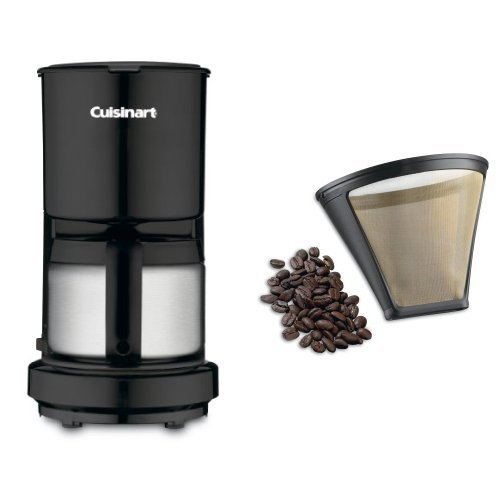 Cuisinart DCC-450BK 4-Cup Coffeemaker with Stainless-Steel Carafe, Black, and Filter Bundle (Cuisinart 4 Cup Coffee Pot compare prices)