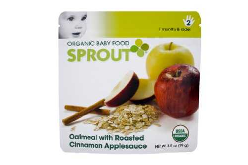Sprout Organic Baby Food, Oatmeal  Roasted Cinnamon Applesauce, Stage 2, 3.5-Ounce Pouches (Pack of 12)