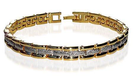 Magnetic Alloy Link Two Tone Bracelet 8.5