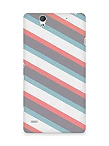 Amez designer printed 3d premium high quality back case cover for Sony Xperia C4 (diagonal pattern lines)