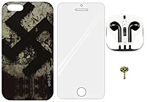 4-in-1 Mobile Back Cover, Tempered Glass, Earphone with Charms Cap for Apple iPhone 5 ZT0233
