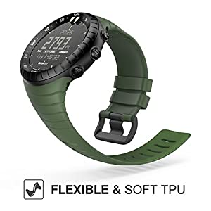 Suunto Core Watch Band, MoKo Classic Replacement Soft Wrist Band Strap with Metal Clasp for Suunto Core Smart Watch, Fits 5.51-9.06 (140mm-230mm) Wrist, Army Green