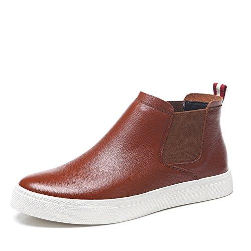 Au printemps et en automne dans les bottes / Bottes pour hommes en cuir véritable /Chaussures hautes coréens
