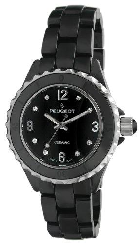Peugeot Women's PS4894BK Swiss Ceramic Sport Bezel Black Dial Watch