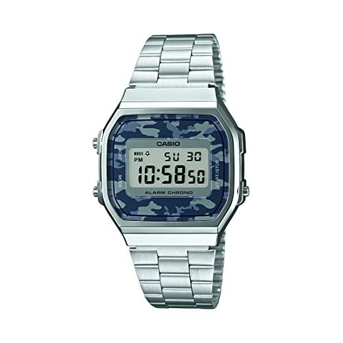 Casio Men's Quartz Watch with Grey Dial Digital Display and Silver Stainless Steel Bracelet A168WEC-1EF