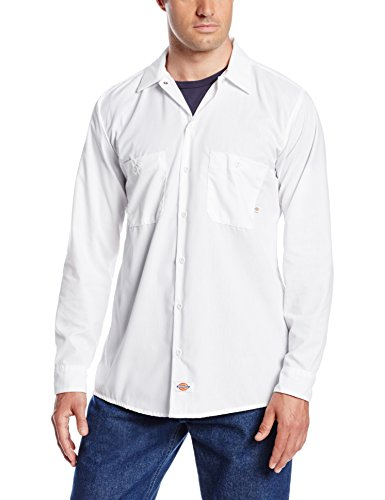 Dickies occupational workwear ll535wh m polyester cotton for White cotton work shirts