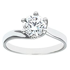 Luisant 9ct White Gold Stone Set Engagement Ring Size S