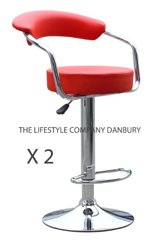 2 X RED FAUX LEATHER KITCHEN BREAKFAST BAR STOOLS BARSTOOLS