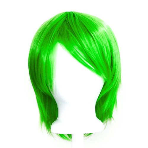 [Yuki - Lime Green Wig 11'' Short Straight Layered] (Lime Green Wigs)