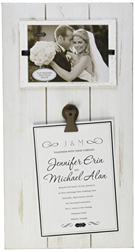 Mud Pie Distressed Wood Horizontal Wedding Invitation Clip Frame, 3.5 x 5