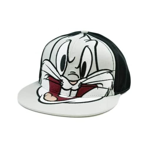 Tunes Bugs Bunny Cartoon Gray Black Flat Bill Fitted One Size Hat Cap