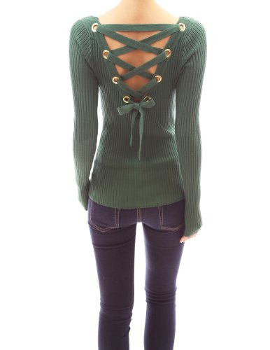 pattyboutik-women-s-ribbed-lace-up-back-long-sleeve-sweater-bottle-green-l-