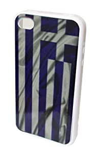 GO IC731 Classic Antique Rustic Greece Flag Silicone Protective Hard Case for iPhone 4/4S - 1 Pack - Retail Packaging - White