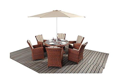 Manhattan braun Rattan Gartenmöbel 6-Sitzer rund Esstisch Stuhl Set kaufen
