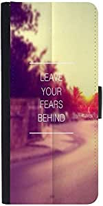 Snoogg Leave Your Fears Behind Graphic Snap On Hard Back Leather + Pc Flip Co...