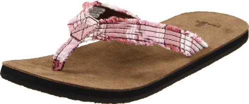 Sanuk Women's Fraidy Cat Thong Sandal,Pink/White,9 M US