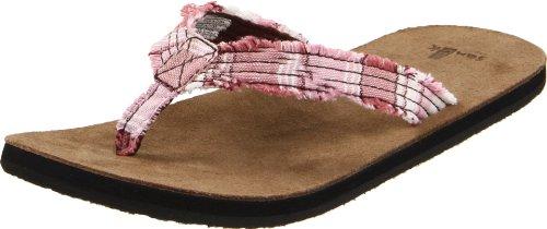 Sanuk Women's Fraidy Cat Thong Sandal,Pink/White,9 M US