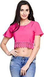 Addyvero Women's Pantone Pink Crop top