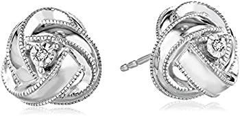 Diamond-Accented Knot Stud Earrings