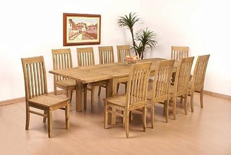 Tisch 260x90 + 10x Stuhl Klassik Pinie massiv Esszimmer Essgruppe