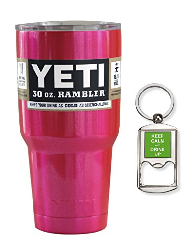 Yeti Coolers Stainless Steel 30 oz Rambler Tumbler with Lid and Free Bottle Opener Keychain (Fuchsia Shimmer)