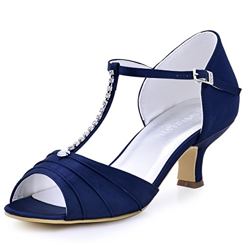 ElegantPark EL-035 Women's Peep Toe Mid Heel Rhinestones Ruched T-Strap Satin Prom Pumps Evening Party Sandals Navy Blue US 10