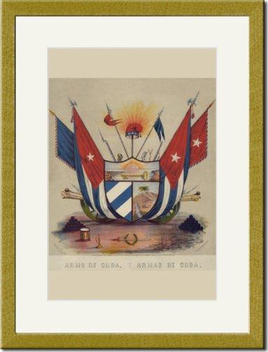 Gold Framed/Matted Print 17x23, Arms of Cuba. Armas de Cuba