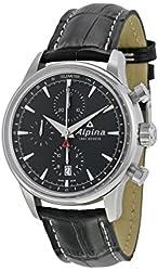 Alpina Alpiner Chronograph Automatic Black Dial Black Leather Mens Watch AL-750B4E6