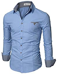 Doublju Mens Dress Shirt with Contrast Neck Band BLUE (US-L / ASIAN-XL)