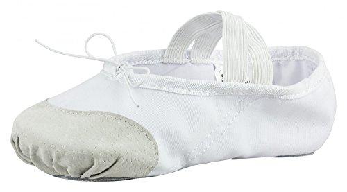 tanzmuster Ballettschuhe / Ballettschläppchen aus Leinen mit Lederverstärkung, geteilte Sohle, für Kinder und Erwachsene in weiß in den Größen 22-45.