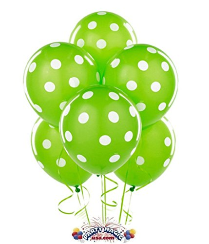 Balloons 11 Inch Premium Latex Lime Green With White Polka Dots Pkg/12
