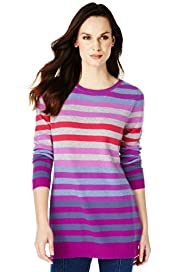 Pure Cashmere Slash Neck Striped Knitted Tunic