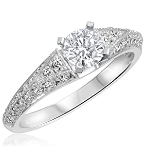 1 CT. T.W. Diamond Ladies Engagement Ring 14K White Gold- Size 7.25