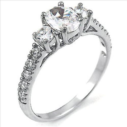 1ct cz Oval cut 3 Stone Engagement Ring 925 Silver Cubic Zirconia (5)