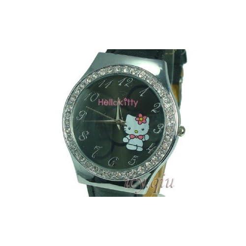 Hello Kitty Black Bow Quartz Leather Watch