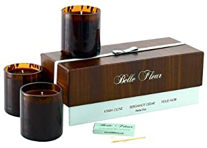 Belle Fleur Scented Candle Petite Trio-Wood-3 ct.